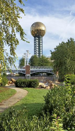 park bridge landscape waterfall knoxville tennessee walkway conventioncenter worldsfair sunsphere