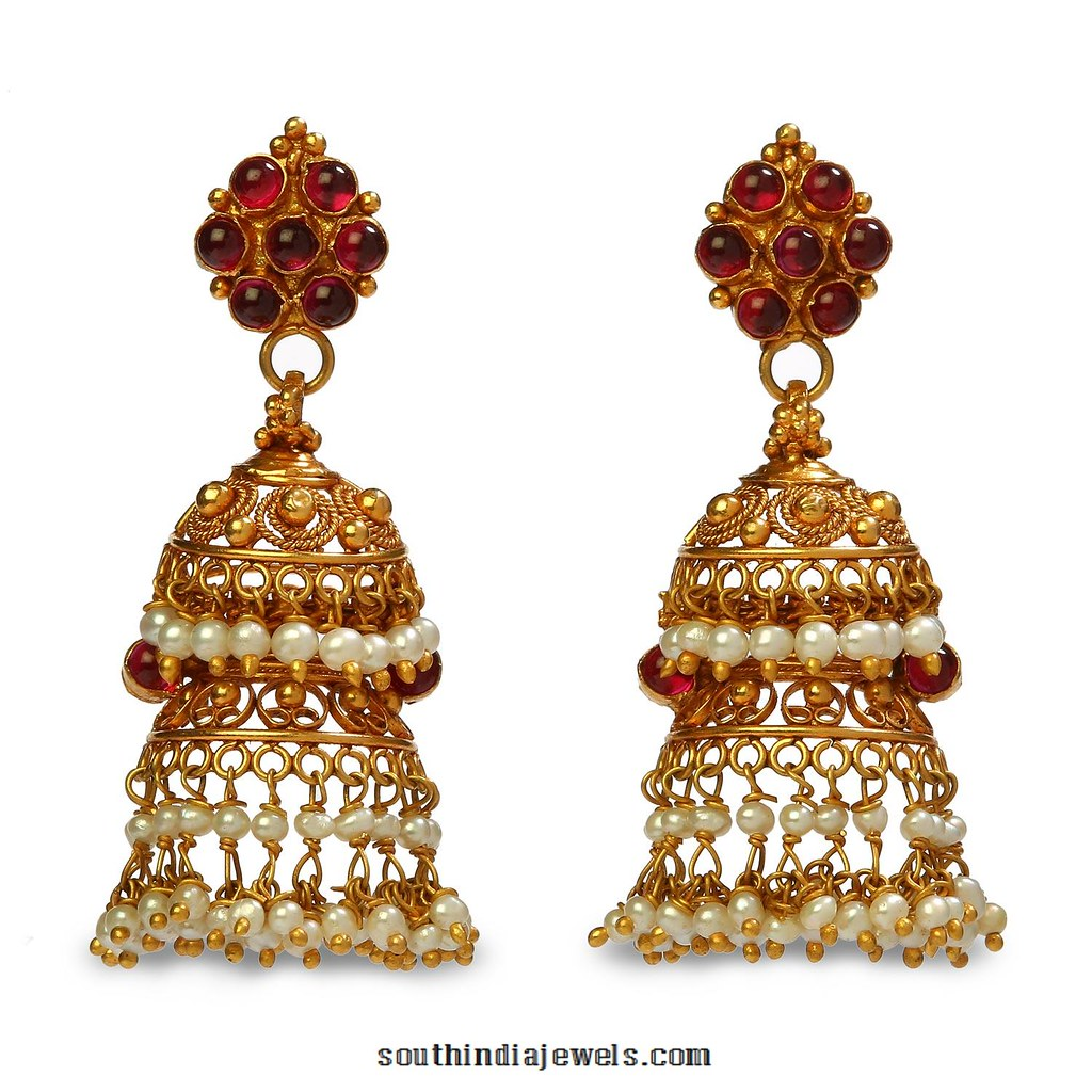 22k Gold Jhumka Earrings From Bhima Jewels Southindiajewel Flickr
