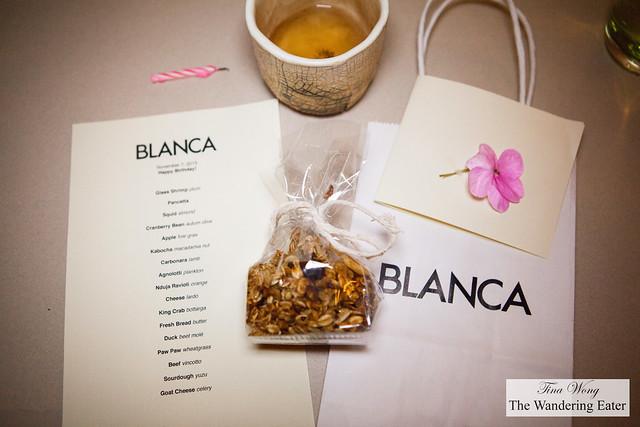 Evening's menu, housemade granola and birthday greeting card