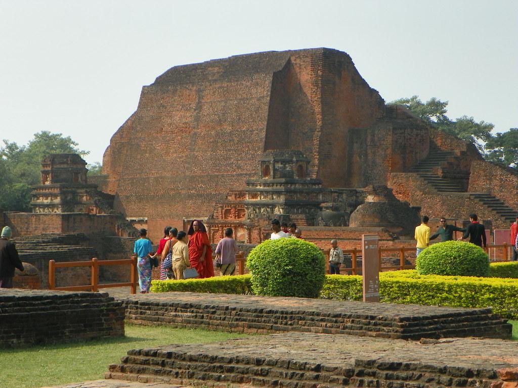 Tourists strolling at Nalanda Mahavihara in Bihar