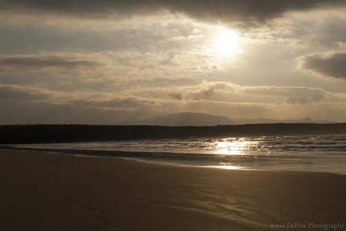 jonasdellowphotography sunset sun beach beautiful sand seascape clouds sky mountains horizon water light bundoran tullan strand ireland
