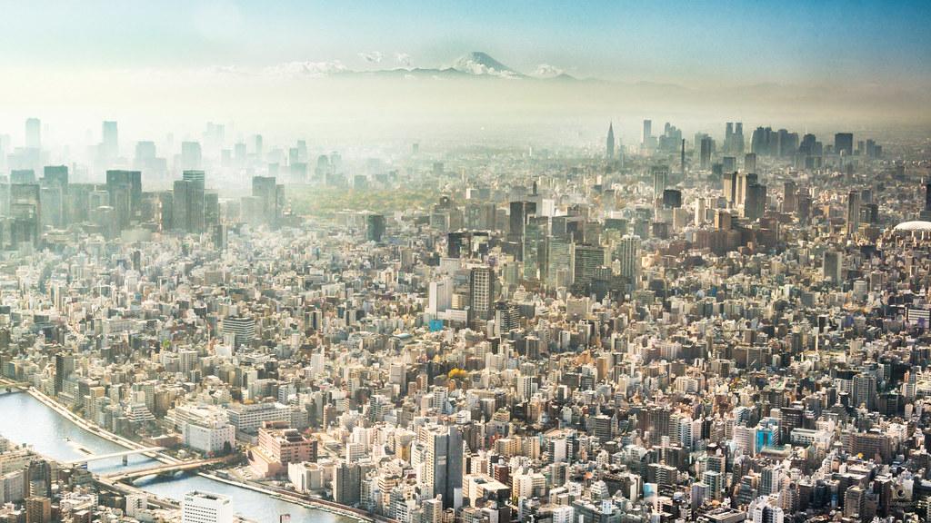 Tokyo Skyline Mount Fuji 4k Wallpaper Desktop Backgrou