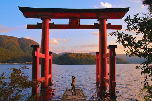 sunset japan shrine 7d 日本 神社 hakone torii 鳥居 ashinoko 神奈川 箱根 芦ノ湖 黃昏 lakeashi 蘆之湖 kanakawa