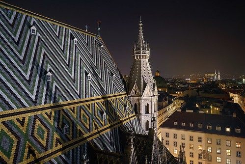 travel sonya7r2 symbol night building architecture ceiling gothic vienna wien emblematicplace church cityscape longexposure view city stephansdome stephansplatz