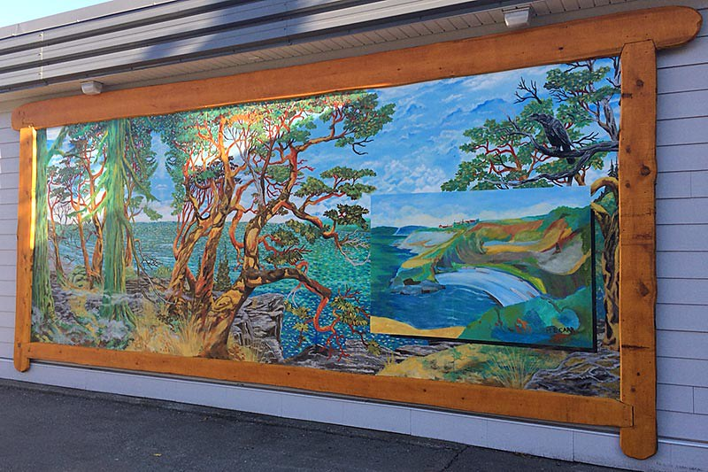Mural depicting an Arbutus Tree, Chemainus, Cowichan Valley, Vancouver Island, British Columbia