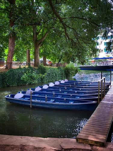 landscape trees punt water green river boat