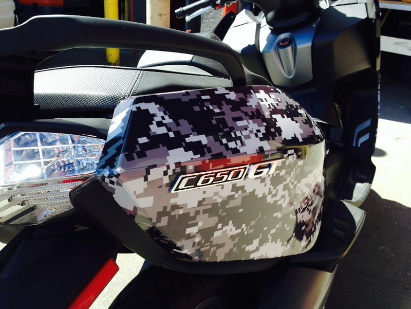 Digital camo wrap on saddlebags