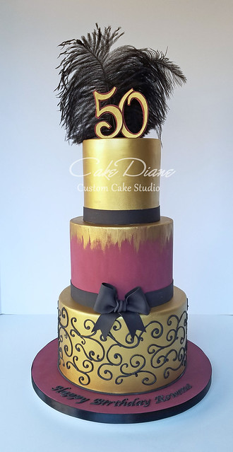 Burgundy and gold 50th birthday