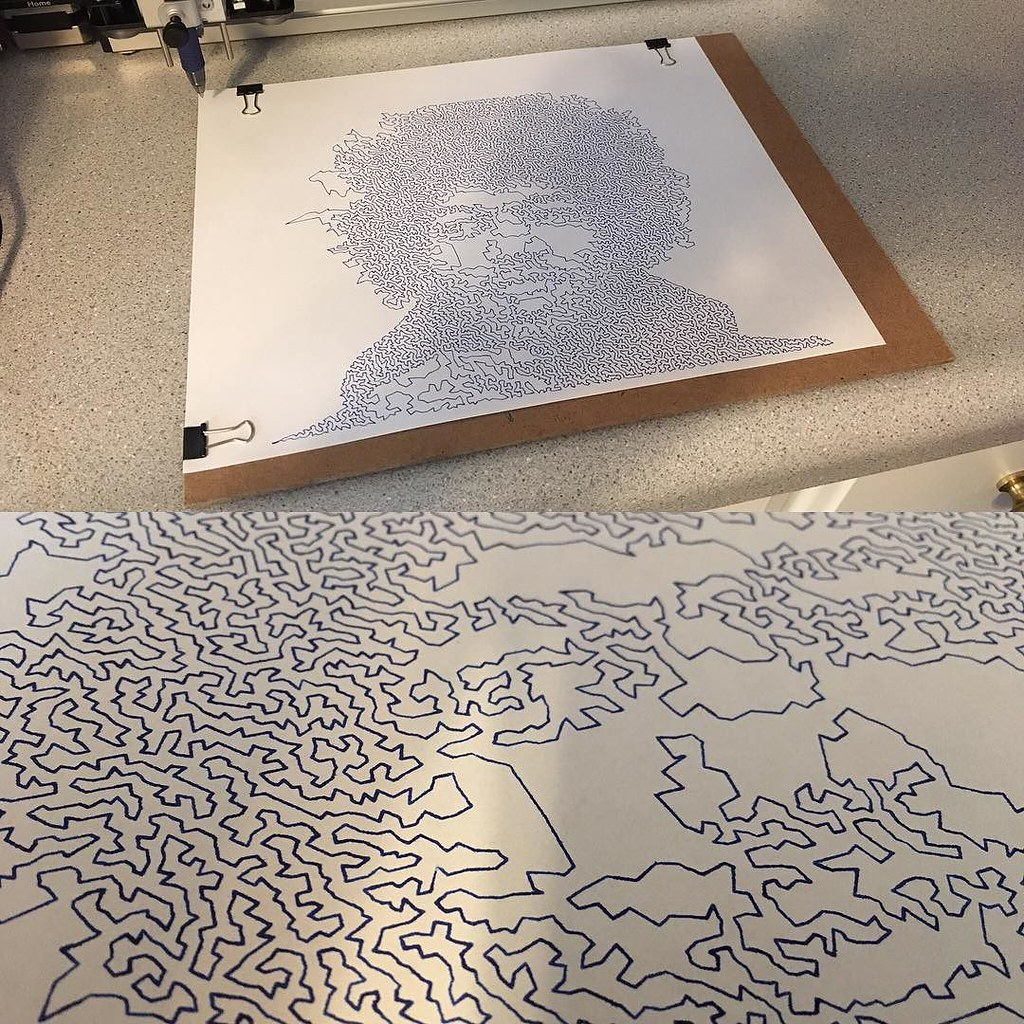 Had my AxiDraw make a single line portrait of Jimi  One co… | Flickr