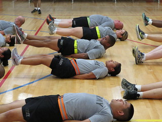 Soldiers of the 79th SSC's Fit For Life Camp perform core training exercise 12SEP2015.  Photo taken by Sgt. Felicia I. Gutierrez | by 4th Sustainment Command (Expeditionary)
