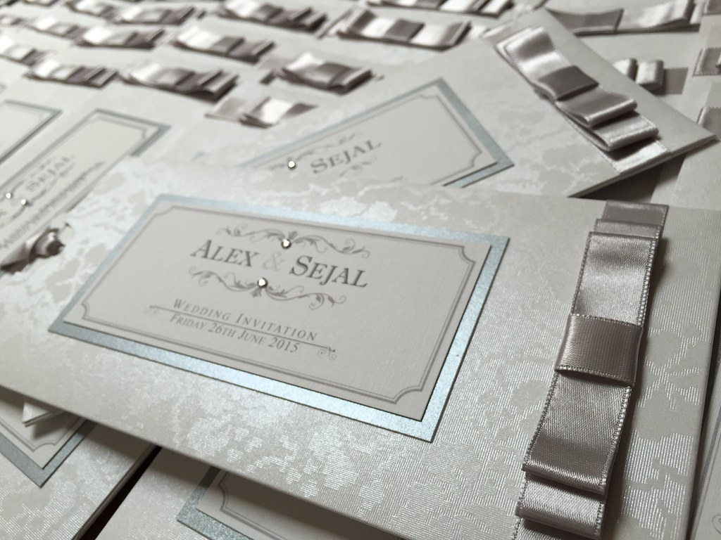 Silver pocket vintage style wedding invitation handmade by…   Flickr