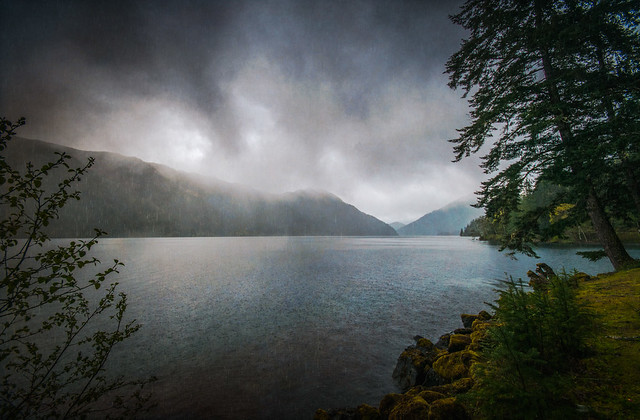 Lake Crescent Afternoon Rain - Textured