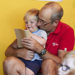 Story Box | Families getting creative in the Baillie Gifford Story Box © Helen Jones
