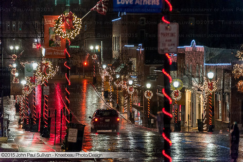 street ohio usa streets wet rain architecture night landscape nikon downtown unitedstates bricks athens christmaslights uptown nighttime nightime dslr raining collegetown courtstreet ohiouniversity d800 johnsullivan kneebeau 45701 johnpsullivan johnpaulsullivan