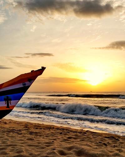 india chennai beach sunrise