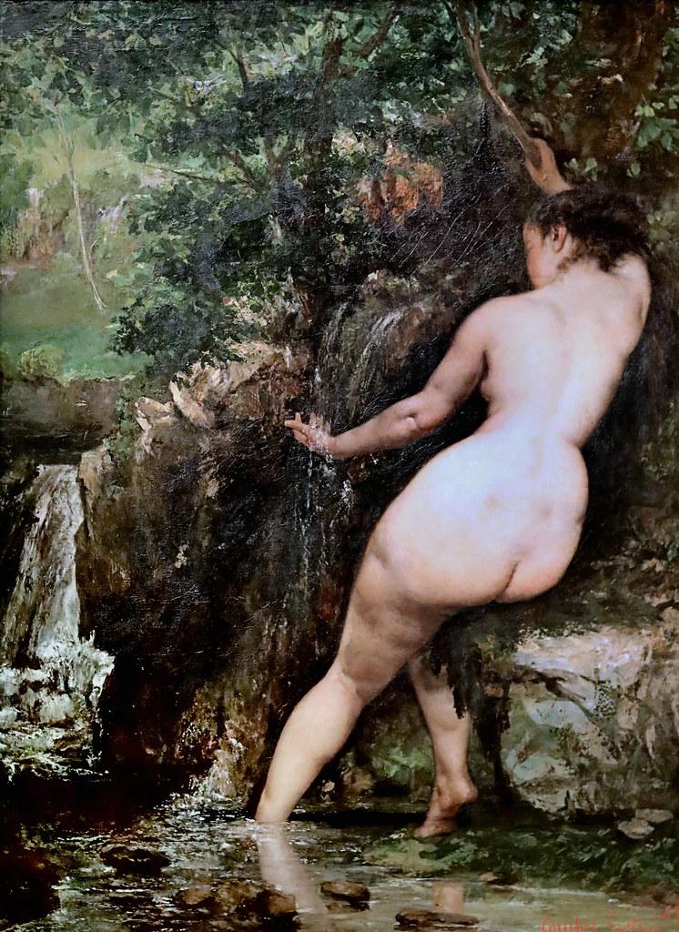 IMG_7542F Gustave Courbet. 1819-1877. Paris. La Source. Dit aussi, la Baigneuse à la source. The Source. Said also, the Bather at the source 1868. Paris Orsay. L'école réaliste.