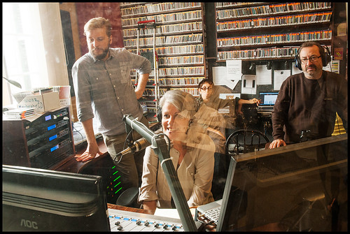 Russell Shelton, Sally Young, and Ron Phillips in the studio at WWOZ Fall Fund Drive 2015 day 10. Photo by Ryan Hodgson-Rigsbee - www.rhrPhoto.com