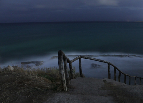 chalepa krete chania greece night coast landscape sea sky storm waves wind long exposure