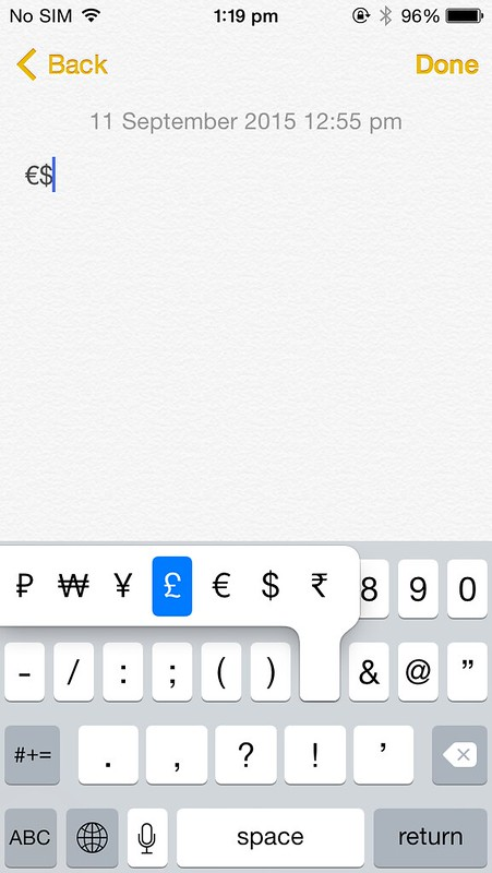 Adding dollar, pound, euro on iPhone keyboard
