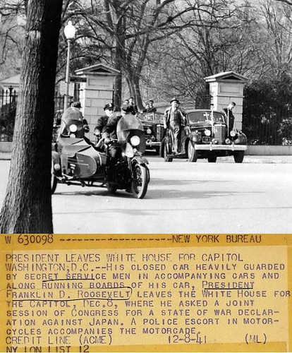 Roosevelt abandona Casa Blanca 8 diciembre hacia capitolio