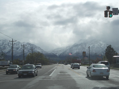 Snowy mountains in April