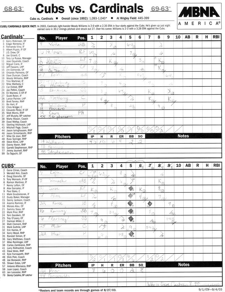 Cubs v. Cards '03 scorecard