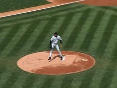 Randy Johnson throws a pitch