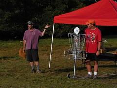 Tournament Director Marty Hapner congratulates 2005 Master's Cup Advanced Men's Champion, Steve Lonhart.