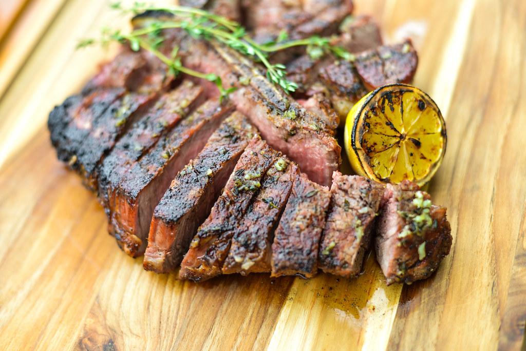 Grilled T-Bone Steak with Garlic Herb Butter