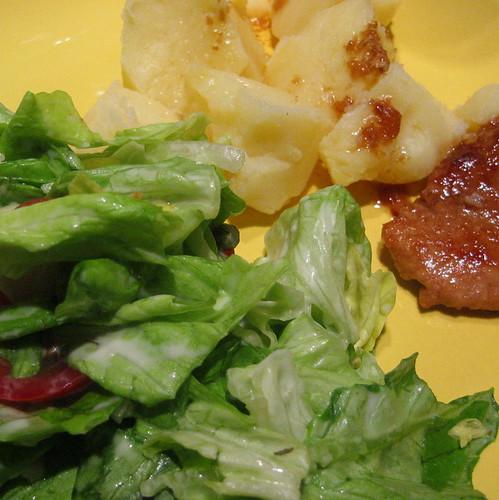 schnitzel, potatoes & salad