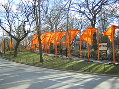 Christo's 'The Gates' in Central Park on a sunny afternoon.