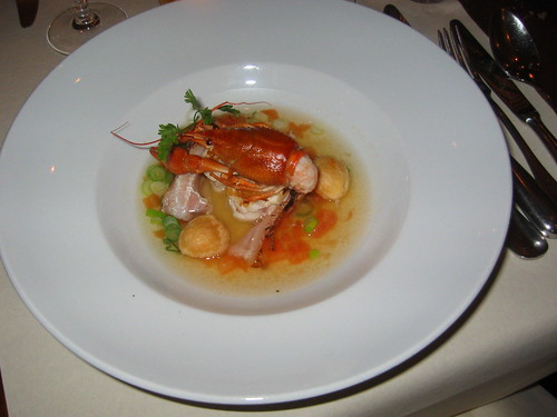 Starter with monkfish and crayfish
