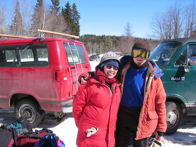 Carrie and I prepare for dogsledding