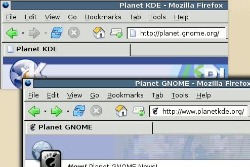 Capturas del Planet KDE y Planet GNOME con las URLs intercambiadas