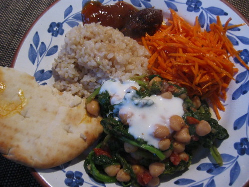 Chickpea and spinach, carrot, pita and rice