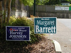 Campaign sign for Margaret Barrett