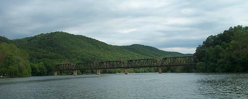 railroad bridge lake mountains virginia widescreen 2006 va easternnorthamericanature claterlake