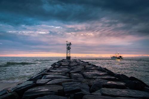 ocean sunset sea beach water boat fishing md sundown jetty maryland atlantic oceancity job ocmd
