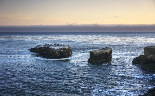 ocean california blue sunset sea santacruz reflection water birds island rocks raw waves pacificocean bluehour hdr waterreflection photomatix fav200 1xp nex6 selp1650