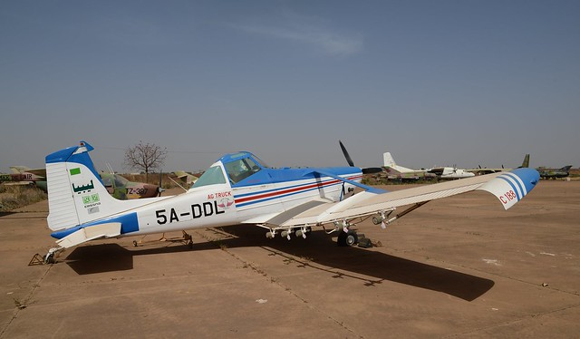 Cessna-A188B Ag Truck 5A-DDL c/n UNKNOWN ex Department of Agriculture, Libyan-Government. Stored Bamako-Sénou, Mali. December 2014.