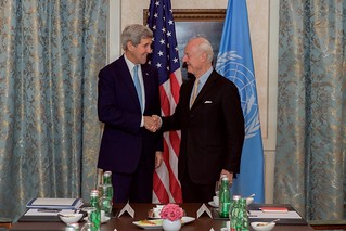 Secretary Kerry Shakes Hands With United Nations Special Envoy for Syria Staffan de Mistura