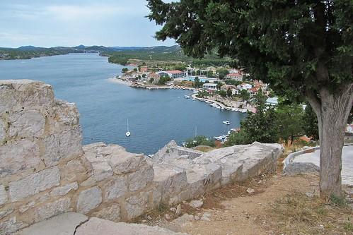 šibenik szybenik croatia view tree wall bay water fromabove