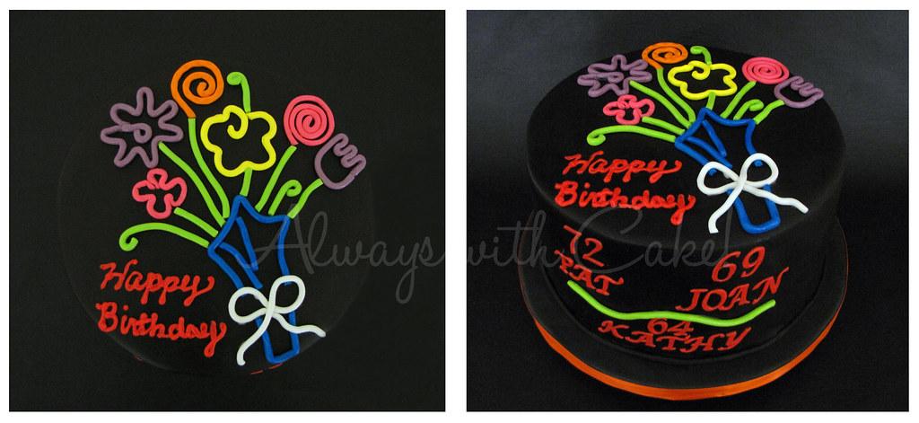 Admirable Neon Lights Birthday Glow In The Dark Cake Always With Cake Birthday Cards Printable Giouspongecafe Filternl