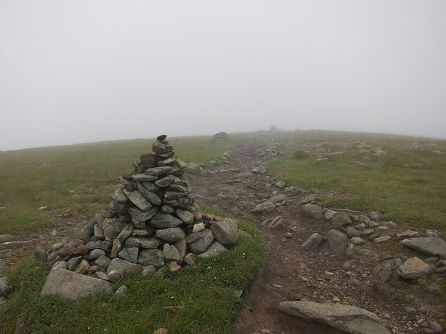 1:55:56 (88%): fog hiking newhampshire whitemountains mtmoosilauke cairn bentontrail