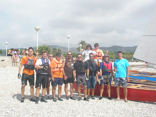 Travessa Alcanar-Calafell 2011. Foto dels participants abans de la sortida. 30 de juliol 2011.