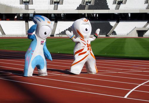 London 2012 mascots on new Olympic Stadium track