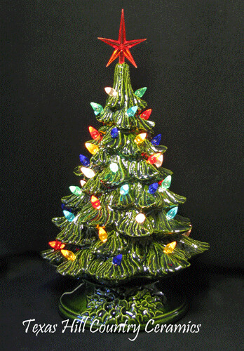 Green Ceramic Christmas Tree On Electric Lighted Stand 9 I Flickr