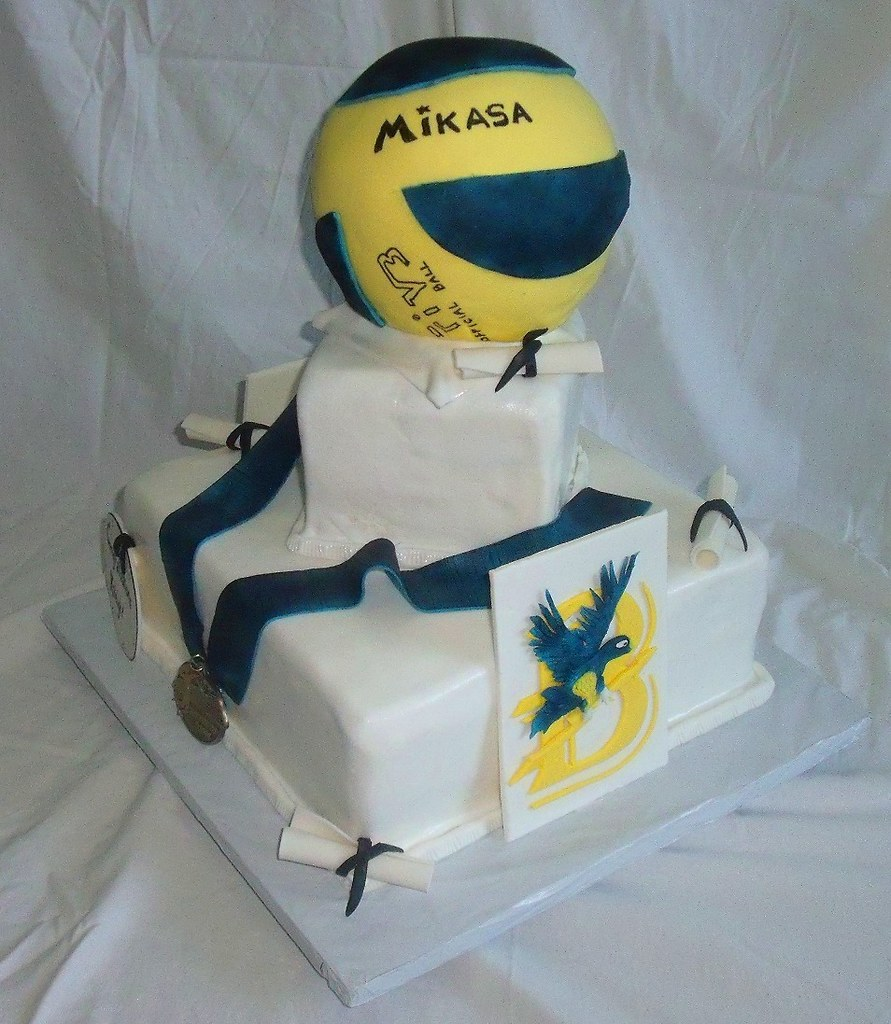 Peachy Graduation Cake With Volleyball College Emblem Sports Me Flickr Personalised Birthday Cards Arneslily Jamesorg