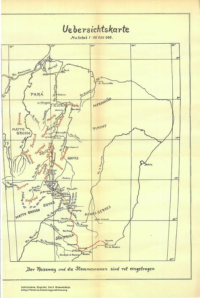 Uebersichtskarte der Reiseweg und die Stammesnamen (Krause 1911)