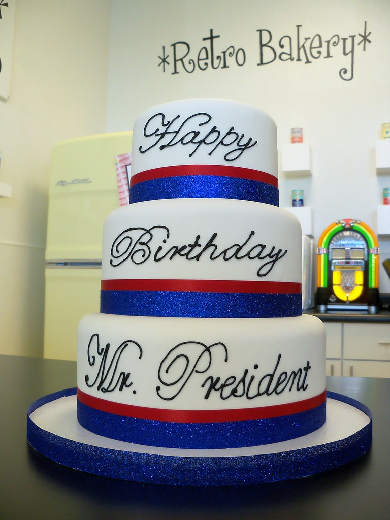 Superb President Obamas 50Th Birthday Cake For Madame Tussauds Flickr Funny Birthday Cards Online Inifodamsfinfo